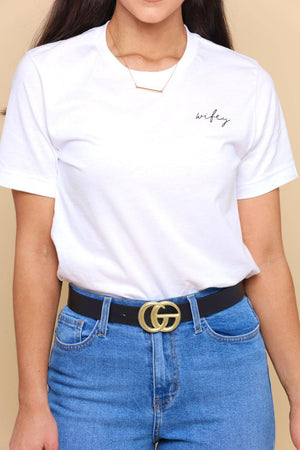 Gee We Love This Belt - Matte Gold / Black