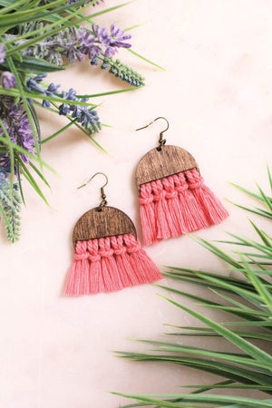 Melon Fringe Wooden Macrame Earrings