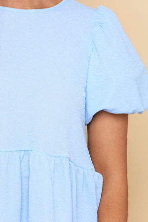 Feeling Blissful Peplum Top - Powder Blue