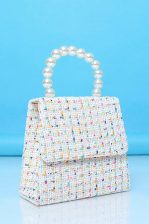 Funfetti Is All You Tweed Purse - White/Pearl