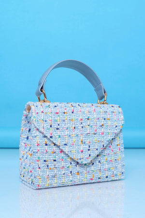 It's Time for Tea Purse - Blue Tweed