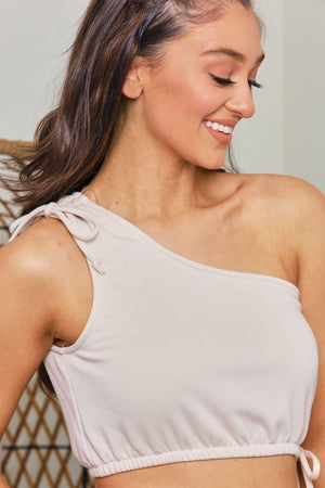 Crop and Go One Shoulder Top - Beige