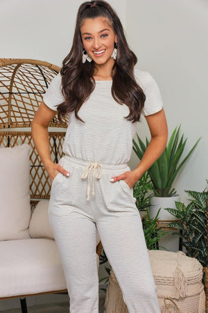 Let's Roll Pinstripe Jump Suit - Ivory/Gray