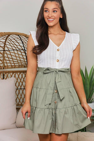 Two Tone Frills Button Up Dress - Olive