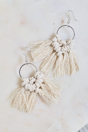 Catching Dreams - Taupe Macrame Earrings