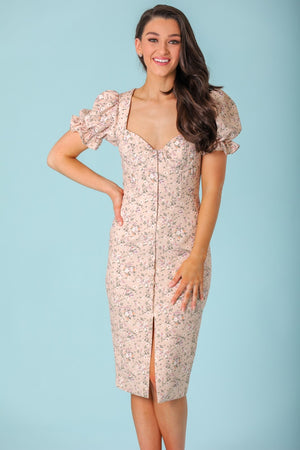 Cecelia Bustier Puff Sleeve Midi Dress - Dresses - Wight Elephant Boutique