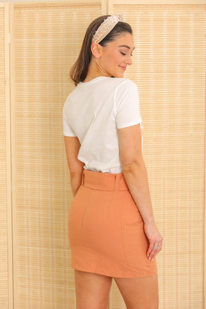 Deliciously Detailed Apricot Belted Skirt