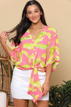 See You in Malibu Tie Front Top - Coral
