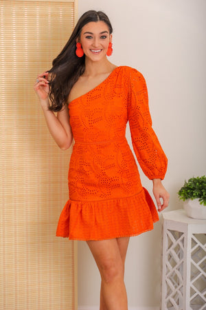 Fresh Squeezed Eyelet One Shoulder Dress