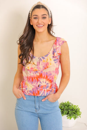 Peace and Love Button Tie Dye Top
