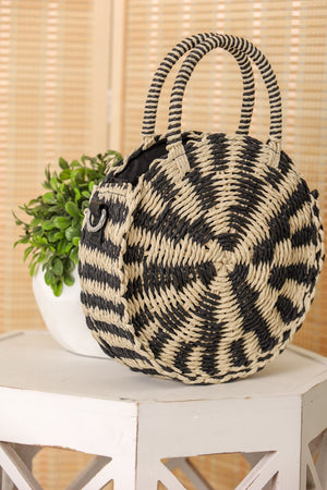 Weave It Together Round Straw Bag - Black/White