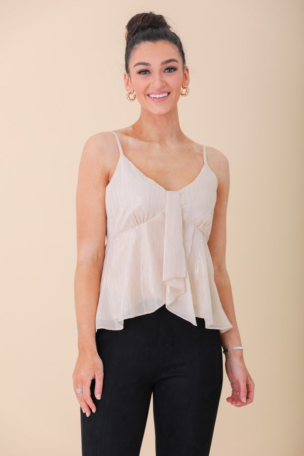 Night of Our Lives Front Drape Cami - Tops - Wight Elephant Boutique