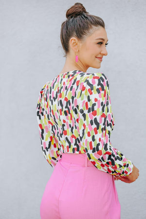 Full of Color Abstract Cropped Top