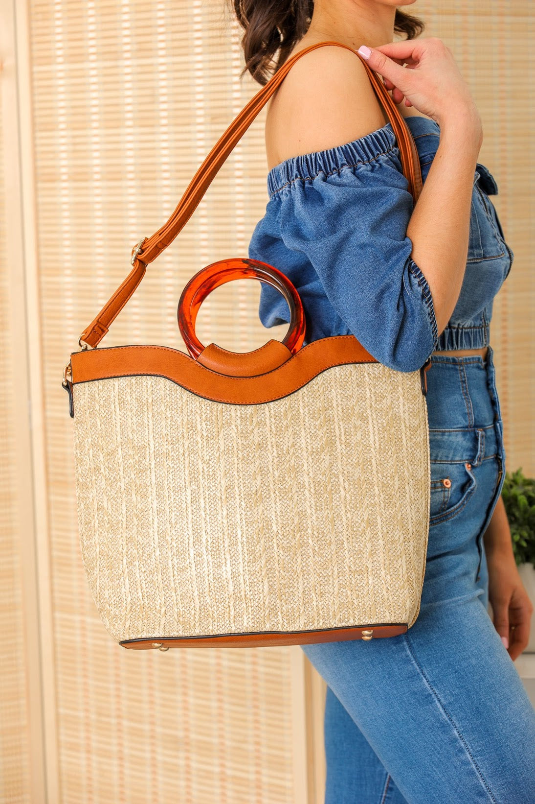 You Deserve It Resin Handle Bamboo Straw Tote Bag