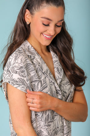 Palm Leaves and Sand Button Down Shirt - Tops - Wight Elephant Boutique