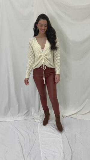 Let Me Pull A Few Strings Cream Ruched Front Crochet Sweater