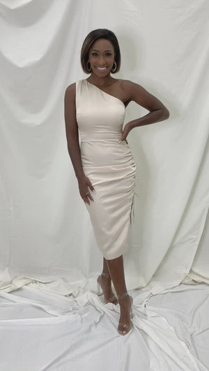 Virginia Satin One Shoulder Dress