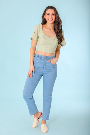 Just for You Paperbag Waist Denim Jeans - Lt Blue