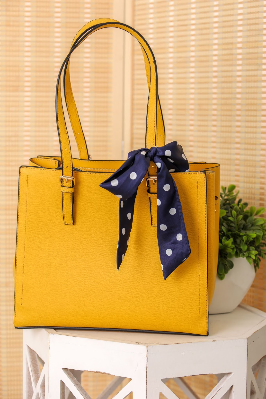 Wrapped With a Bow Scarf Accent Tote - Yellow