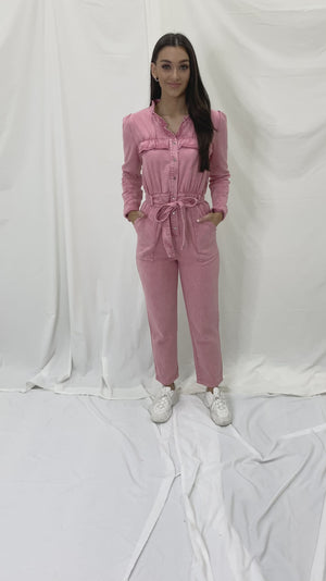 You Give Me The Frills Pink Acid Wash Utility Jumpsuit