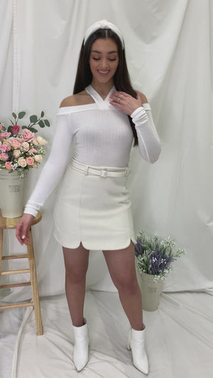 Halt Babe , Long Sleeve Knit Top - White