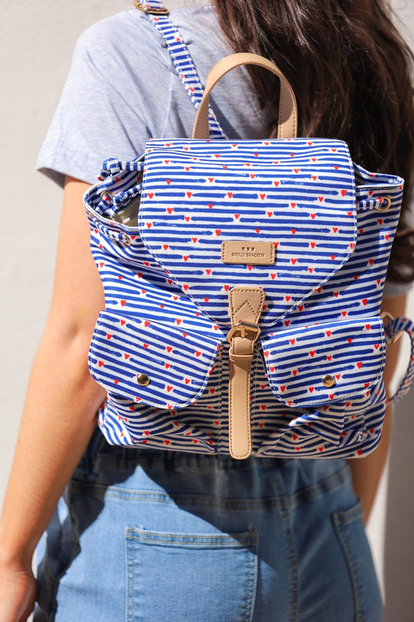 All Your Favorite Things Striped Heart Backpack