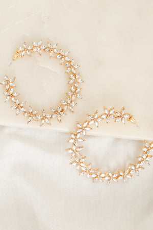 Crown of Flowers Rhinestone Floral Hoops