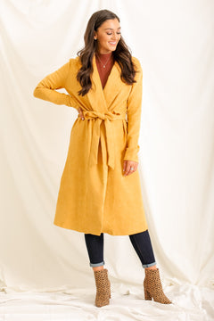 Rain or Shine Faux Suede Coat - Mustard