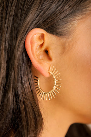 Tough Around the Edges Spiked Hoops - Gold