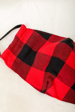 Red and Black Buffalo Plaid Face Mask