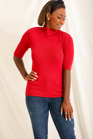 Always There For You Ribbed Mock Neck - Maroon