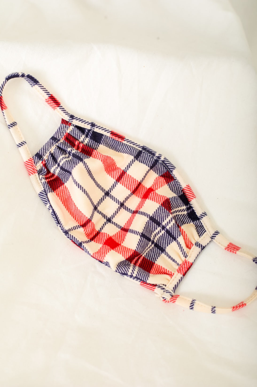 Blue and Red Plaid Face Mask
