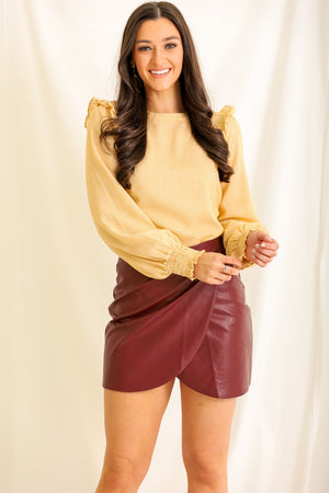 From the Heart Faux Leather Mini Skirt - Burgundy