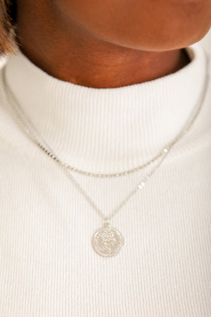 Penny For Your Thoughts Layered Coin Necklace - Silver