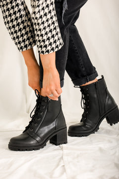 Rock the Block Black Combat Boots