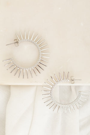 Tough Around the Edges Spiked Hoops - Silver