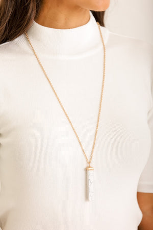 Classic Beauty Stone Bar Marble Necklace
