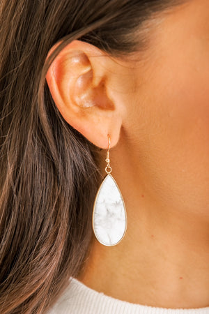 Drops of Marble Tear Drop Earrings