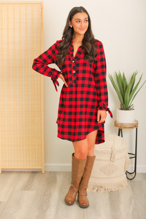 Stay Strong Plaid Flannel Dress