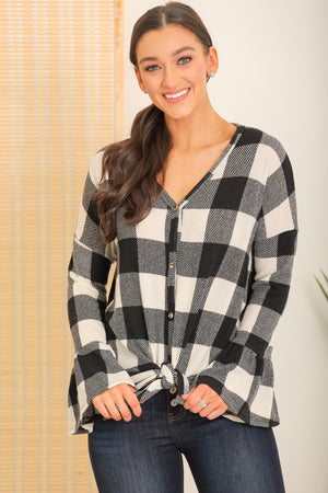 Visions of Autumn Bell Sleeve Buffalo Plaid Blouse - Black/White
