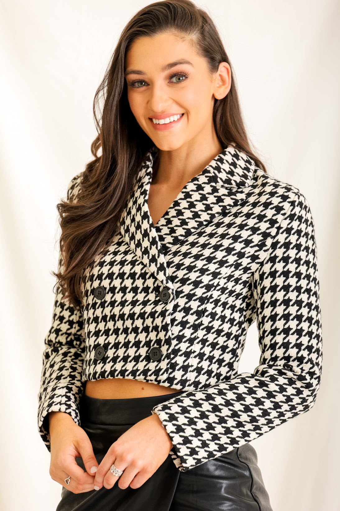 Fashion Queen Houndstooth Cropped Jacket