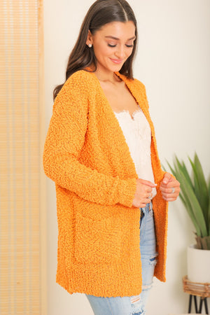 Wrapped in Comfort Popcorn Cardigan - Mustard