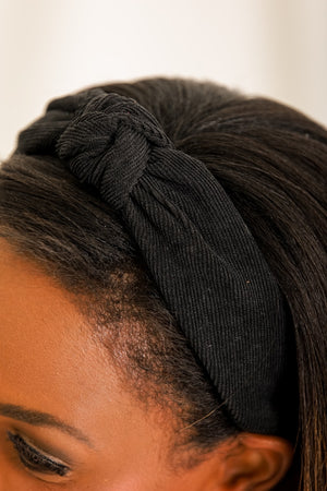 Star of the Show Corduroy Knot Headband - Black