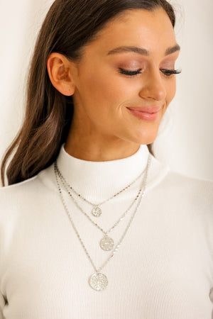 Toss a Coin in the Fountain Layered Necklace - Silver