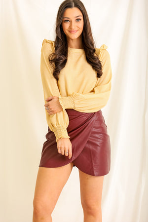 Leaves are Falling Ruffle Shoulder Blouse