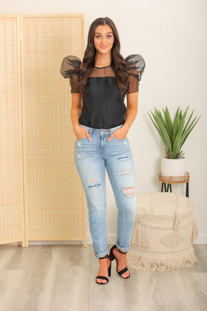 New Me High Rise Distressed Boyfriend Jean