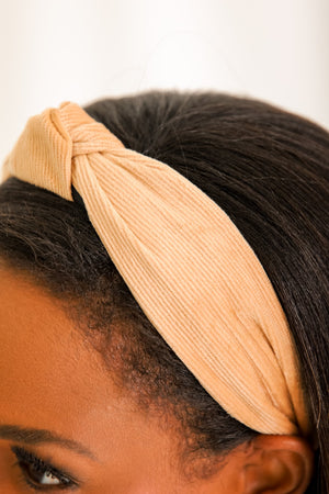 Star of the Show Corduroy Knot Headband - Tan