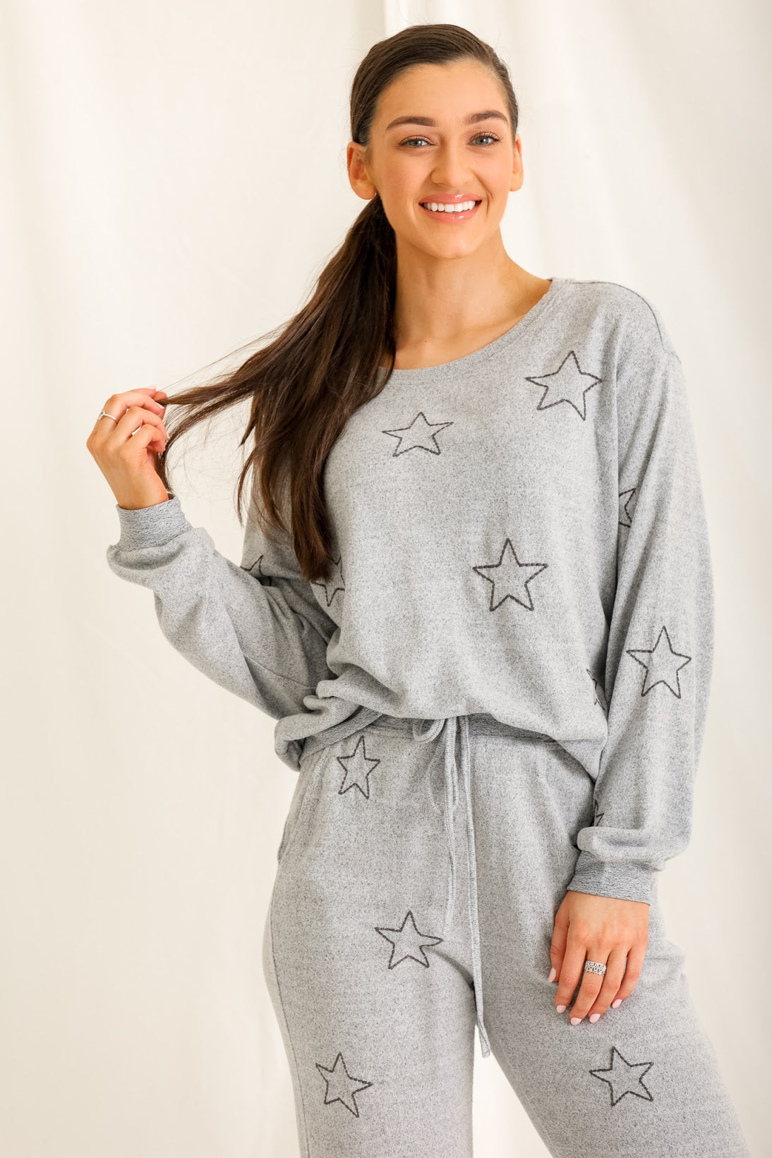 Wish Upon a Star Lounge Top - Grey