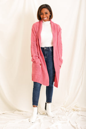 Warm Embrace Cable Knit Duster Cardigan