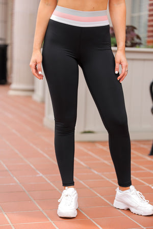 Stay In Your Lane Tricolor Waist Leggings